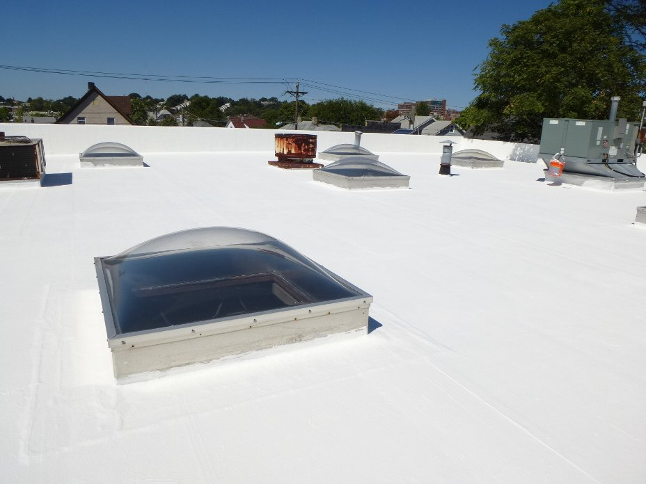 Roof waterproofed by liquid membrane